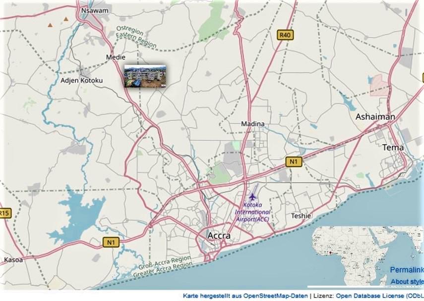 Der Kartenausschnitt zeigt den Standort unseres Krankenhauses in Accra
